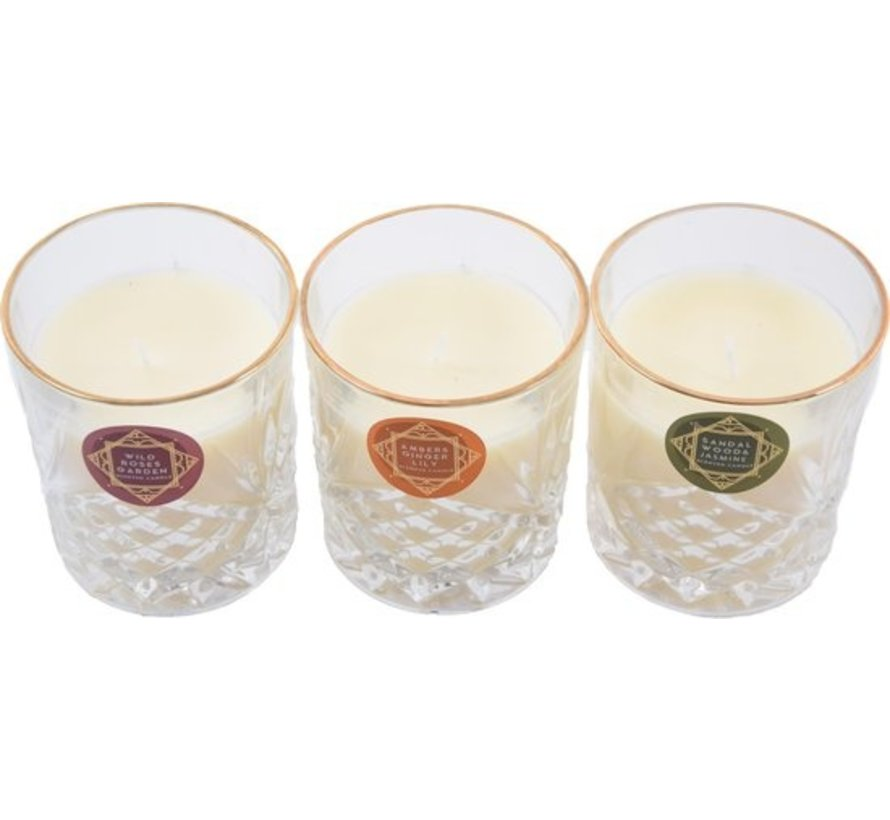 Scented candle in glass - Wild Roses Garden. Scented candles - Candles - Candle