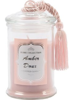 Lux Scented Candle in Glass - Amber Doux - Rose - 8 x 8 x 14.5 cm - Burning hours 25