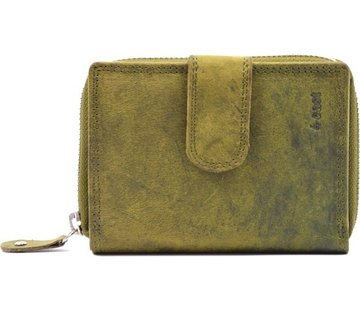 4East Wallet - wallet ladies - wallet men - wallet cards - Wallet credit card - Wallet with credit card holder - credit card wallet - Leather wallet - Credit card holder - Olive - Green - RFID Protected Anti skim - 4E-401