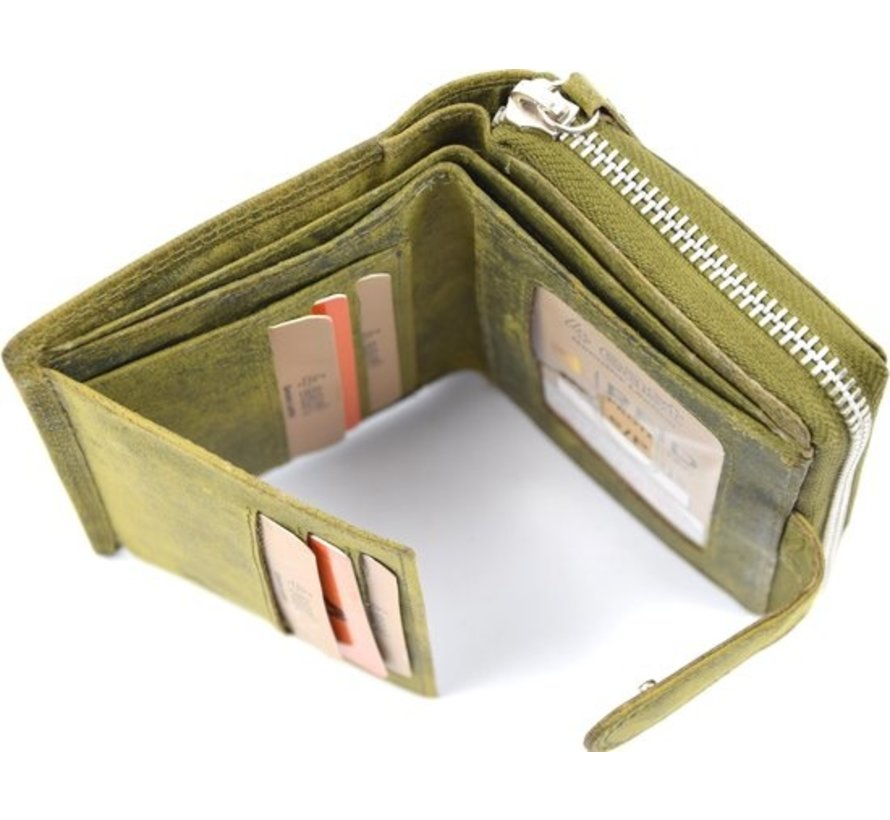 Wallet - wallet ladies - wallet men - wallet cards - Wallet credit card - Wallet with credit card holder - credit card wallet - Leather wallet - Credit card holder - Olive - Green - RFID Protected Anti skim - 4E-401