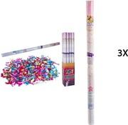 Discountershop Discountershop party popper - 3x Party confetti shooter 100 cm - party popper confetti kanon