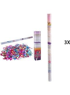 Discountershop Discountershop party popper - 3x Party confetti shooter 100 cm - party popper confetti cannon