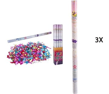 Discountershop Discountershop party popper - 3x Party confetti shooter 100 cm - party popper confetti cannon