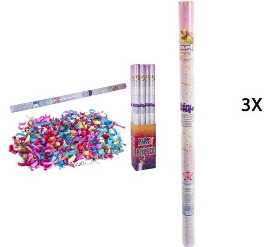 Discountershop party popper - 3x Party confetti shooter 100 cm - party popper confetti cannon
