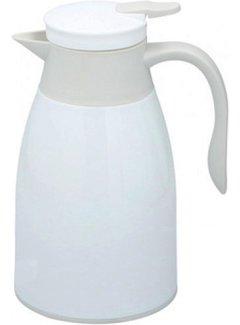 Discountershop Thermoskan 1 liter- isoleerkan - thee thermoskan - Thermos - Wit