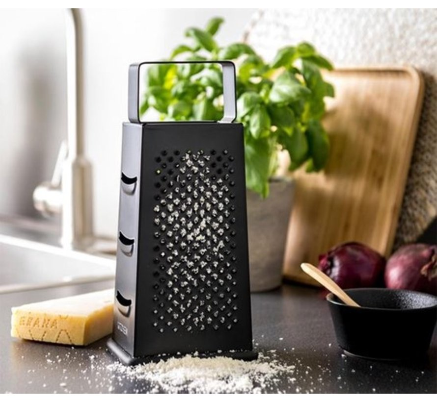 Discountershop Multipurpose Grater - Stainless Steel 4 Sides - Handheld - Cheese Grater Black - 8 x 10.5 x 24 cm