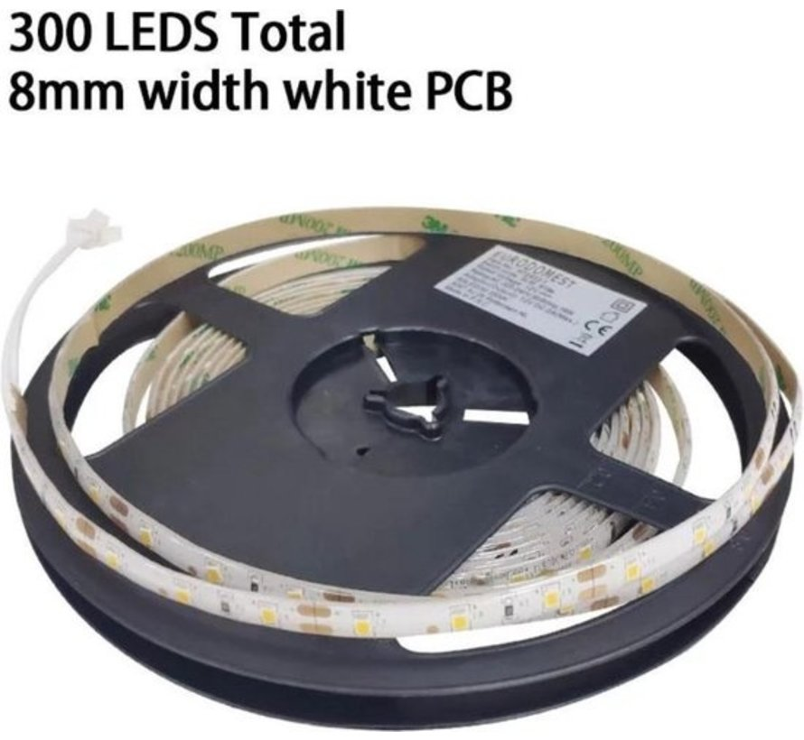 5M LED strip - Warm white - Dimmable - 300 LED - With Adapter - 3500 K.