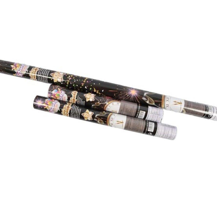 Discountershop 3x Party confetti shooter 100- 50- 40 cm - party popper confetti kanon