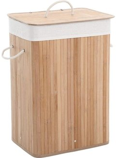 Discountershop Discountershop Natural Bamboo 65L Laundry Basket With Lid - Incl. removable laundry bag Bamboo Storage Basket / Laundry Basket - 29 x 39 x 57 cm