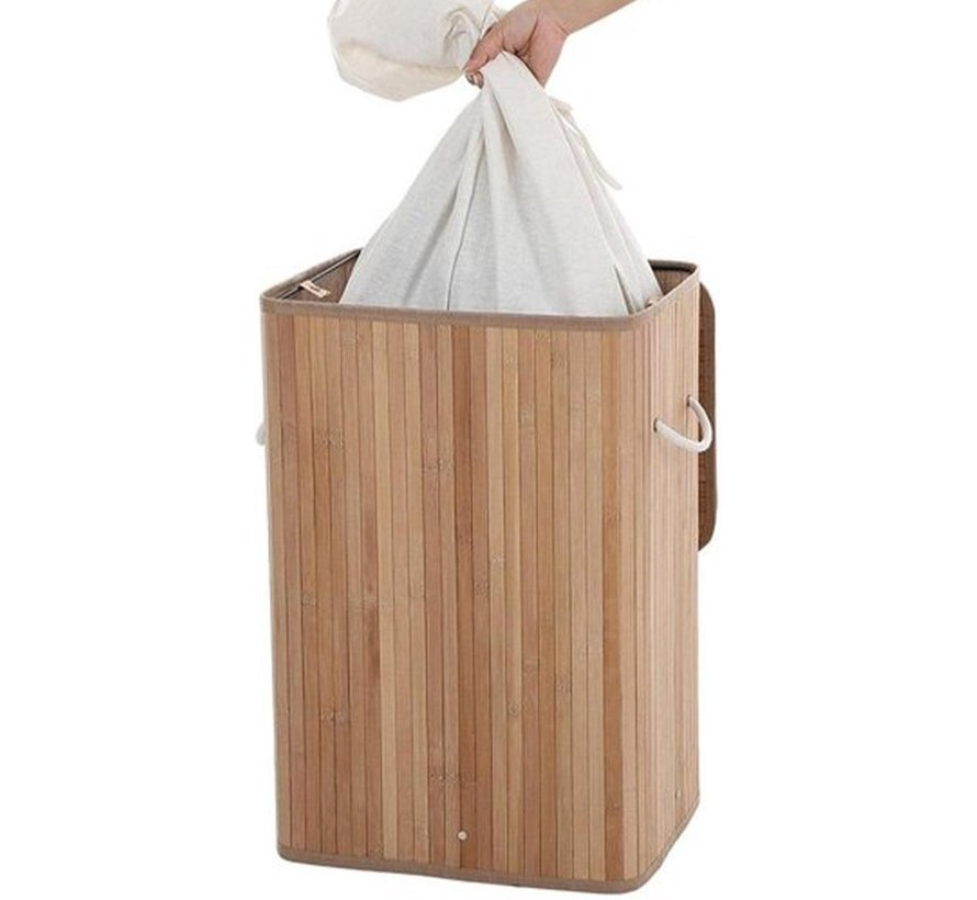 Discountershop Natural Bamboo 65L Laundry Basket With Lid - Incl. removable laundry bag Bamboo Storage Basket / Laundry Basket - 29 x 39 x 57 cm