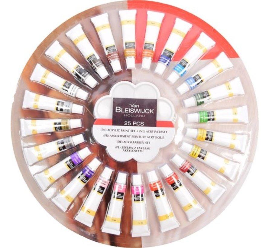 Acrylverf Set Van 25 stuks - 25 Delig - 12 ML | Acrylic Paint Set- Met tubes van 12 ml - 24 verschillende kleuren