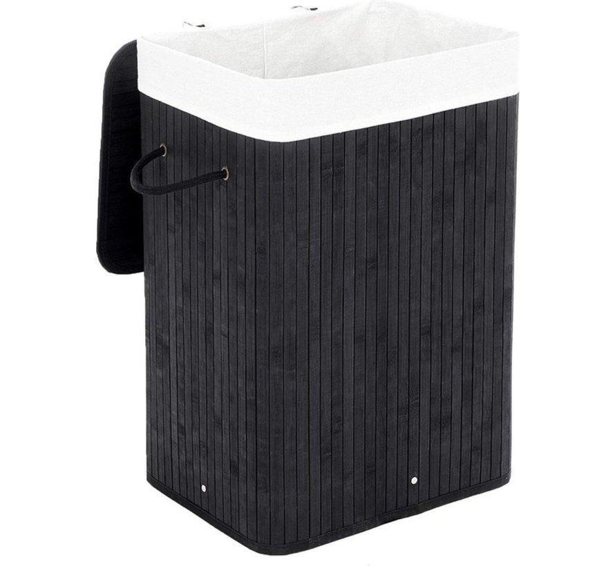 Black Discountershop Bamboo 65L Laundry Basket With Lid with removable laundry bag Bamboo Storage Basket  - 29 x 39 x 57 cm