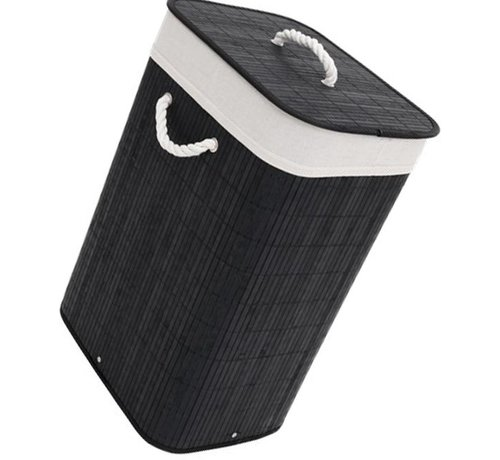 Discountershop Black Discountershop Bamboo 65L Laundry Basket With Lid with removable laundry bag Bamboo Storage Basket  - 29 x 39 x 57 cm