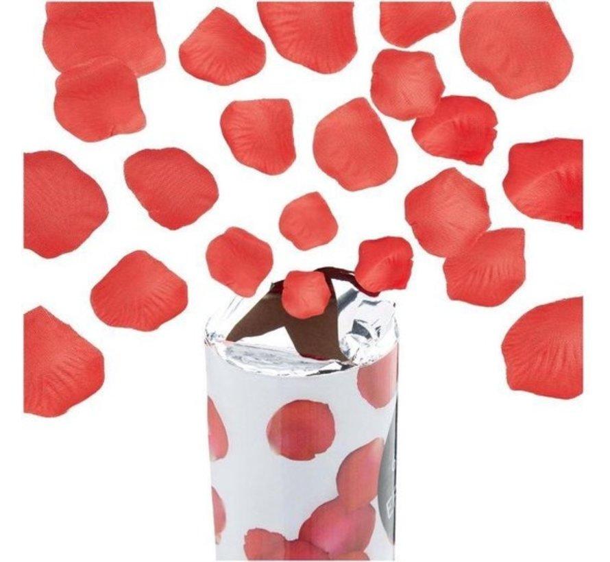 Discountershop  1x party popper rozenblaadjes Rood - 80 cm Roos papier - confetti kanon - confettishooter