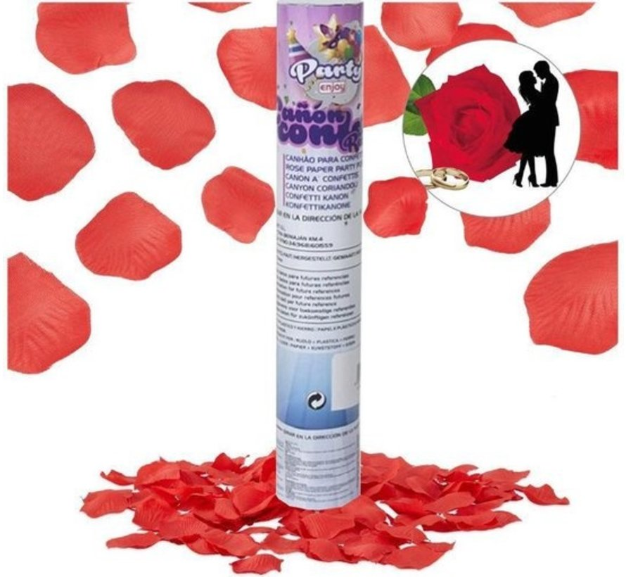 Discount shop | 1x party popper rose petals Red - 80 cm Rose paper - confetti cannon - confetti shooter