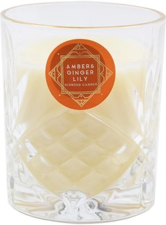 Discountershop Scented candle in glass - amber ginger lily  - scented candles for honeymoon