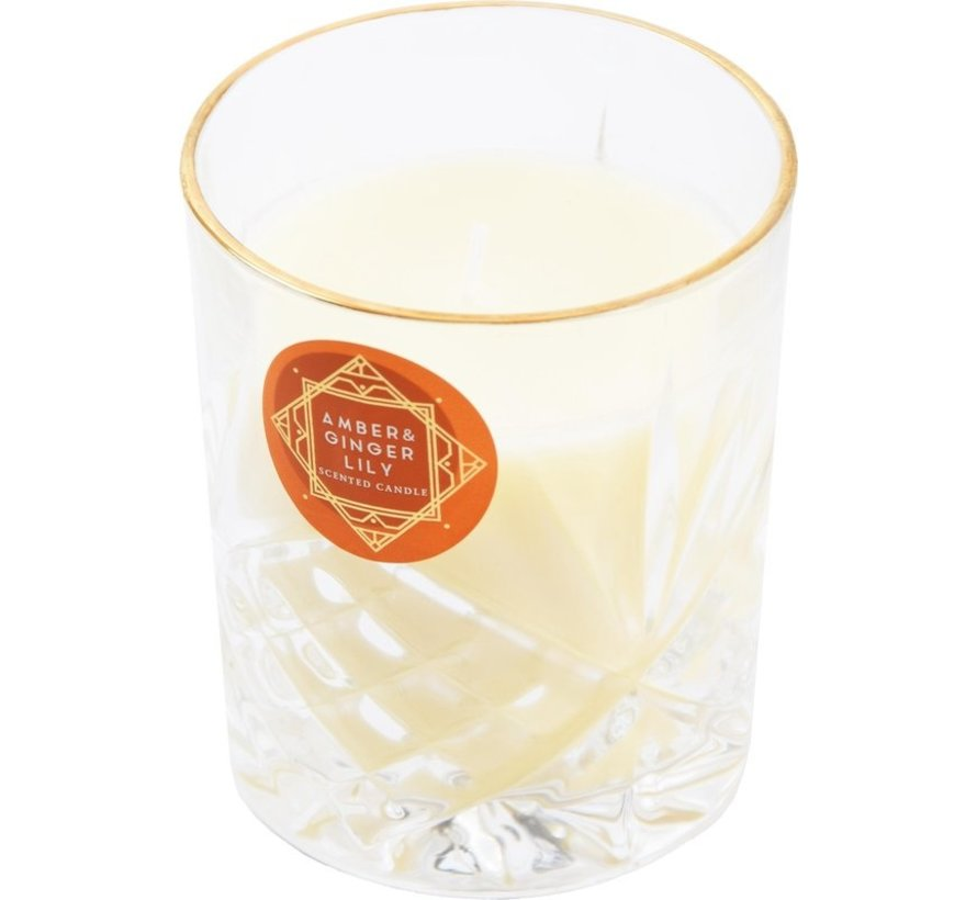 Scented candle in glass - amber ginger lily  - scented candles for honeymoon