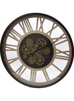Discountershop Large wall clock wooden - wall clock online - Ø 55cm -  wall clock with gears