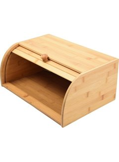 Discountershop Bamboo Bread Box With Roller Shutter -  Bread Bin - Bread Basket - 40 CM