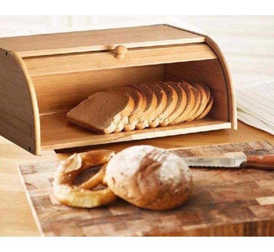 Bamboe Broodtrommel  Met Rolluik - Broodtrommel Goedkoop Online - Broodtrommel blokker 40 CM
