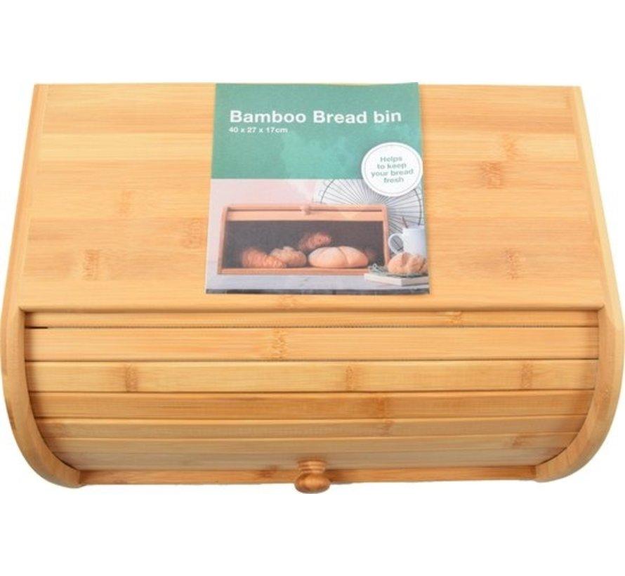 Bamboo Bread Box With Roller Shutter -  Bread Bin - Bread Basket - 40 CM