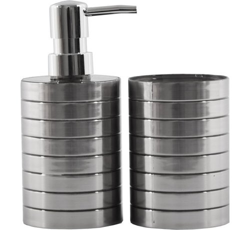 Discountershop Soap dispenser and toothbrush holder set - Bathroom accessories- 2 pieces Stainless Plastic