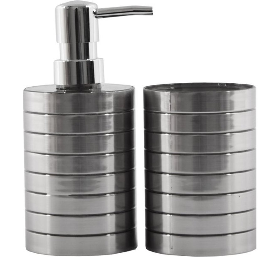 Soap dispenser and toothbrush holder set - Bathroom accessories- 2 pieces Stainless Plastic