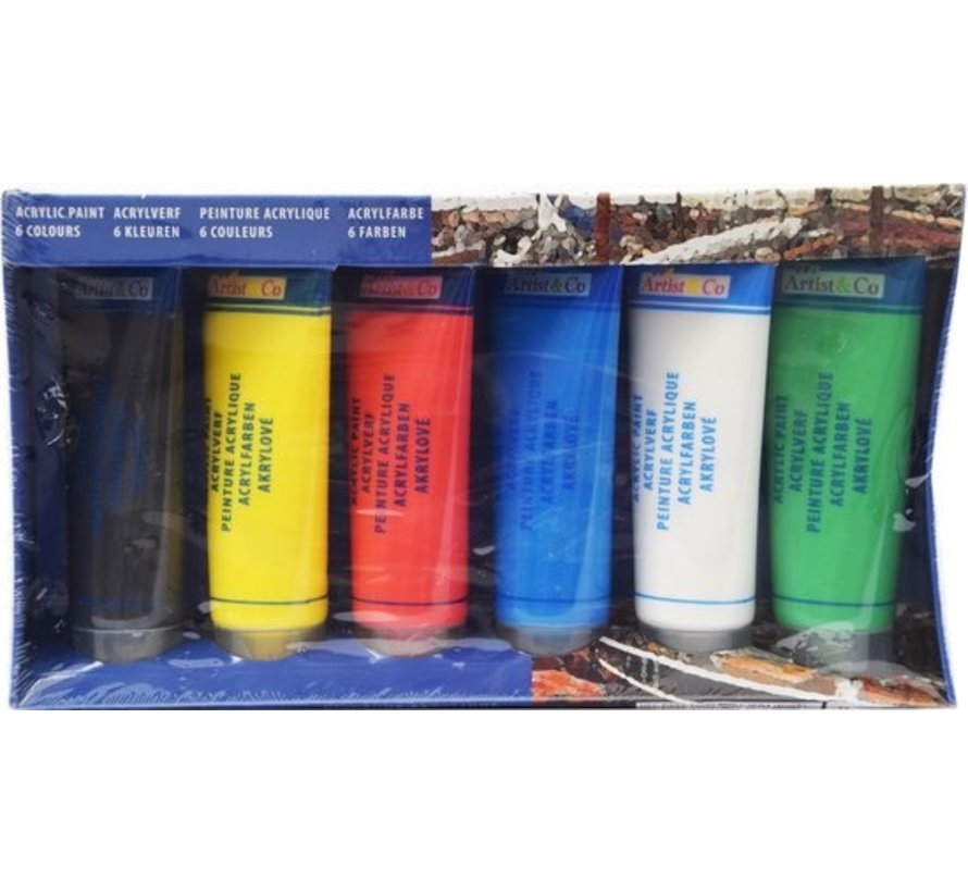 Acrylic paint 6 pieces - tube of 450 ML different colors - Acrylic paint - Watercolor colors 6 pieces - Waterproof paint
