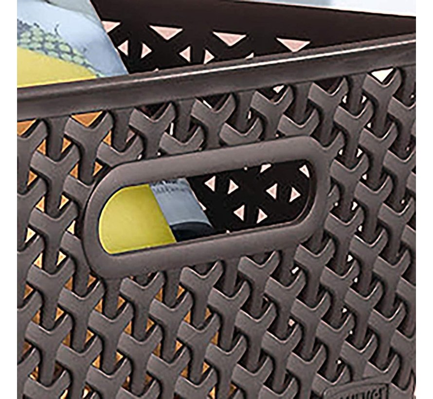 Storage basket - Storage tray - Black storage 36 x 30 x 22 cm Rattan