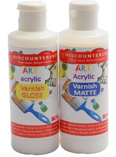 Discountershop Discountershop Acrylic varnish 80 ml 2 pieces - Glossy varnish - Matt varnish - Transparent - Matt Acrylic varnish