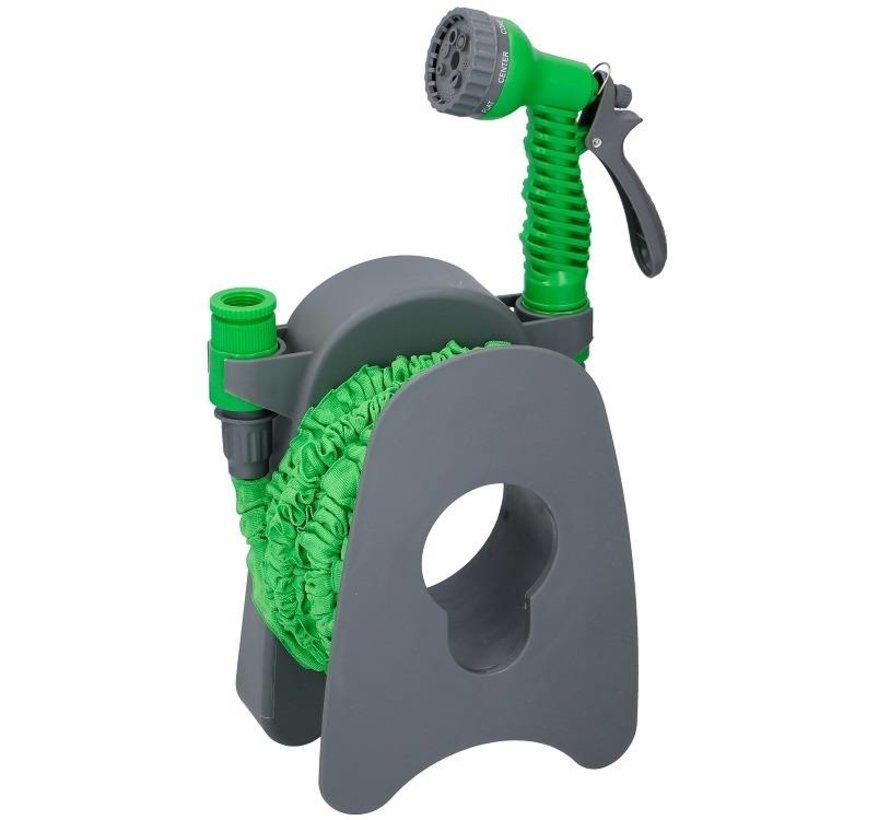 Discountershop 15 meter expandable garden hose with spray gun & wall bracket
