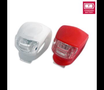 Discountershop Fietsverlichting LED voorlicht en achterlicht siliconen set van 2 - Fiets verlichting voorlamp en achterlamp verlichtingsset - Fietslampjes kinderen fietsverlichtingsset waterdicht silicon