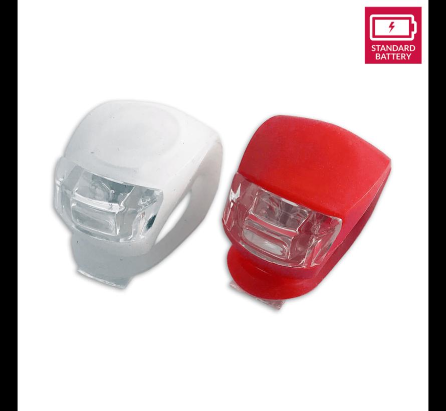 Fietsverlichting LED voorlicht en achterlicht siliconen set van 2 - Fiets verlichting voorlamp en achterlamp verlichtingsset - Fietslampjes kinderen fietsverlichtingsset waterdicht silicon