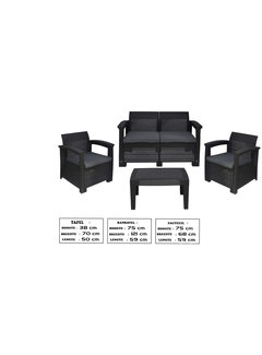 Discountershop Discountershp - Delaram garden furniture, 4-piece, anthracite - Lounge set with cushions poly rattan