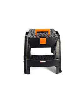 Discountershop Opstap kruk / gereedschap kruk met opbergvak en handgreep 47x41x42cm