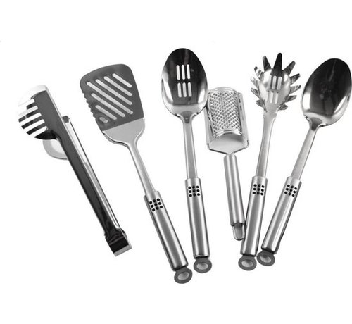 Discountershop Kitchenware set - Spaghetti fork - Serving spoon - Brush - Soup spoon - Cheese grater - Skimmer - Barker - Pasta tongs