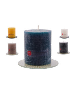 Discountershop Discountershop® | rustic block candle | Warm color mix | brown - ocher yellow - Navy - White - Black |