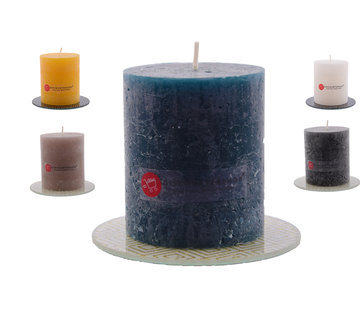 Discountershop Candle rustic pillar candle |5x Coasters | Warm color mix |brown - ocher yellow - Navy - White - Black|