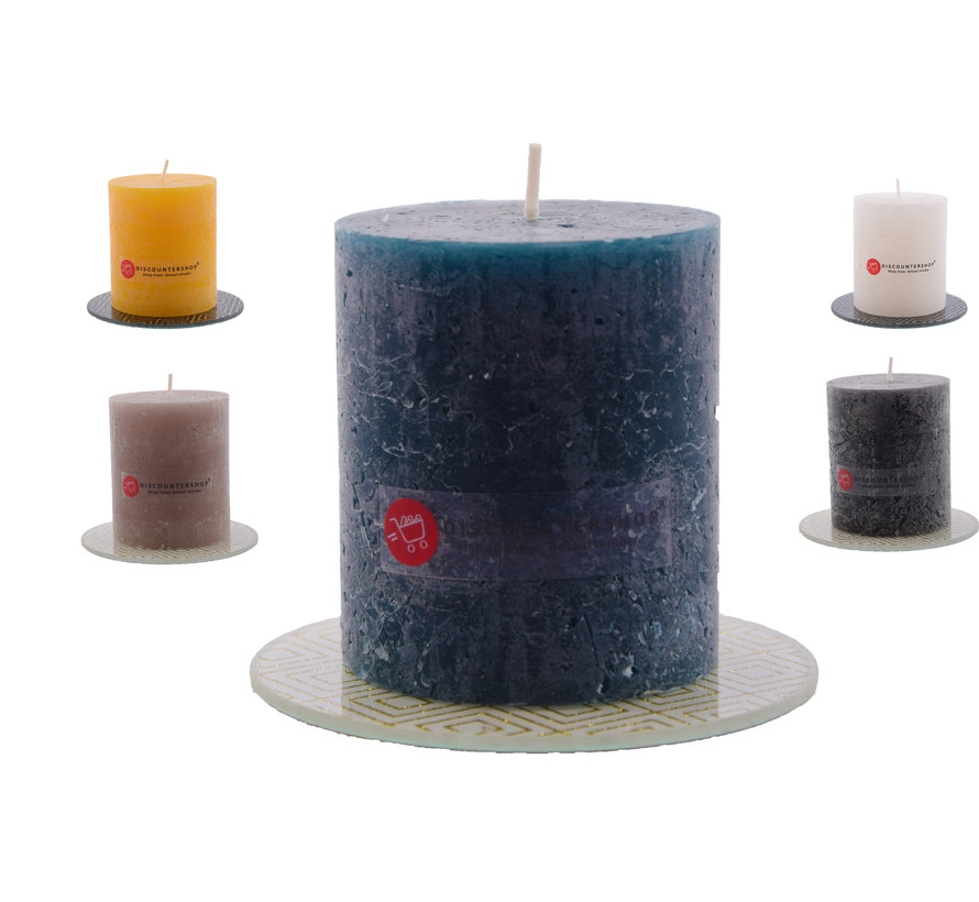 Discountershop® | rustic block candle | Warm color mix | brown - ocher yellow - Navy - White - Black |