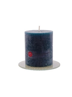 Discountershop Discountershop® | rustic candle | Block candle 8 x 7 cm | Navy - 30 burning hours
