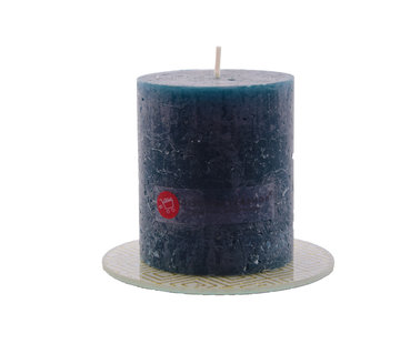 Discountershop Discountershop®   rustic candle   Block candle 8 x 7 cm   Navy - 30 burning hours