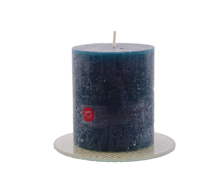Discountershop® | rustic candle | Block candle 8 x 7 cm | Navy - 30 burning hours