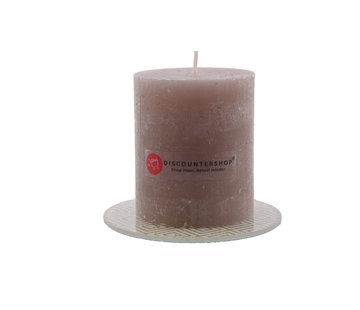 Discountershop Candle rustic candle Including coaster| Pillar candle 8 x 7 cm| Taupe - 30 burning hours