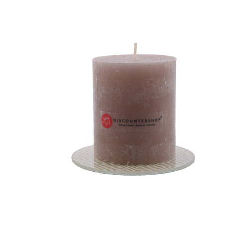 Discountershop Discountershop® | rustic candle Including coaster | Block candle 8 x 7 cm | Taupe - 30 burning hours
