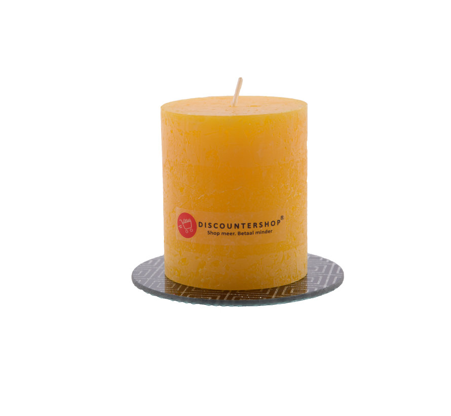 Discountershop® | rustic candle Including coaster | Block candle 8 x 7 cm | ocher yellow - 30 burning hours