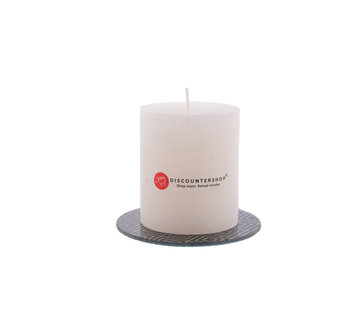 Discountershop Discountershop® | rustic candle Including coaster | Block candle 8 x 7 cm | Ivory colored candle - 30 burning hours