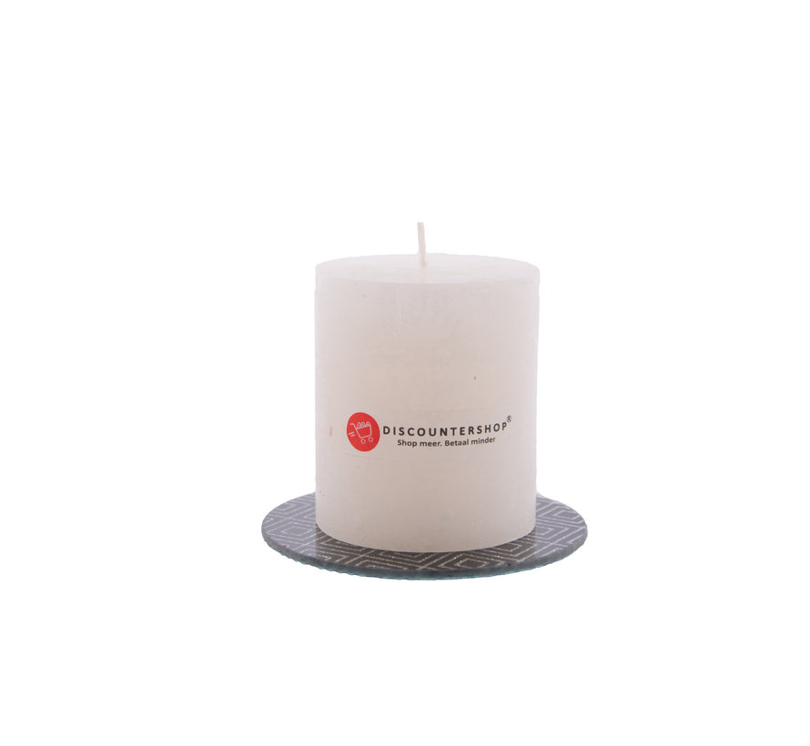 Discountershop® | rustic candle Including coaster | Block candle 8 x 7 cm | Ivory colored candle - 30 burning hours