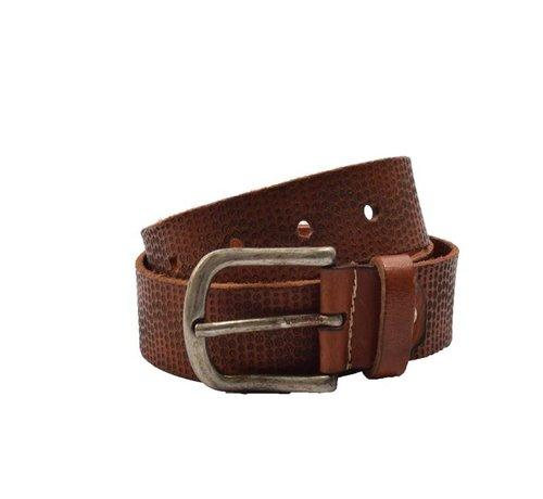 Discountershop Belt 85 cm color Brown with dots, it is 4 cm wide - Belts Men - Belts Ladies - Beautiful Belts
