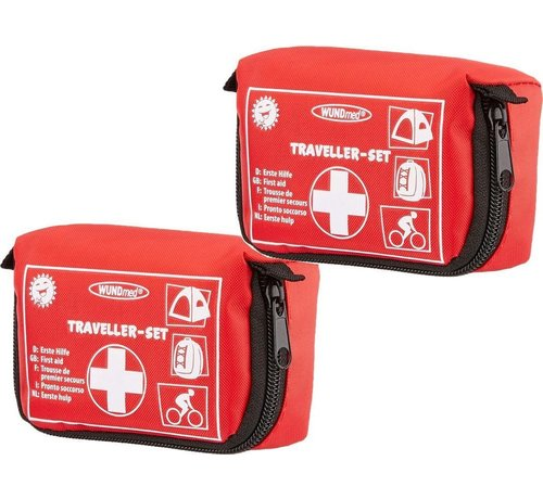 EHBO 2 Pieces Small and compact first aid box Travel size 11 cm x 8 cm x 5 cm - First aid for your belt - car or in the camper - First aid first aid box 31 pcs - Comfort AID - First AID KIT - First aid box -