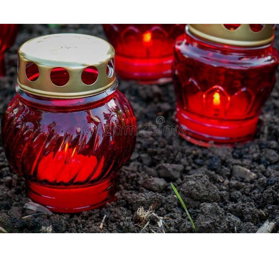 2 pieces Memorial candle - Candle - Buy white candle - Memorial candles - Glass - White candle in glass - Candle holder - Memorial candle - Heart - Red - candle candles